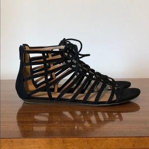 Report black tie up sandals